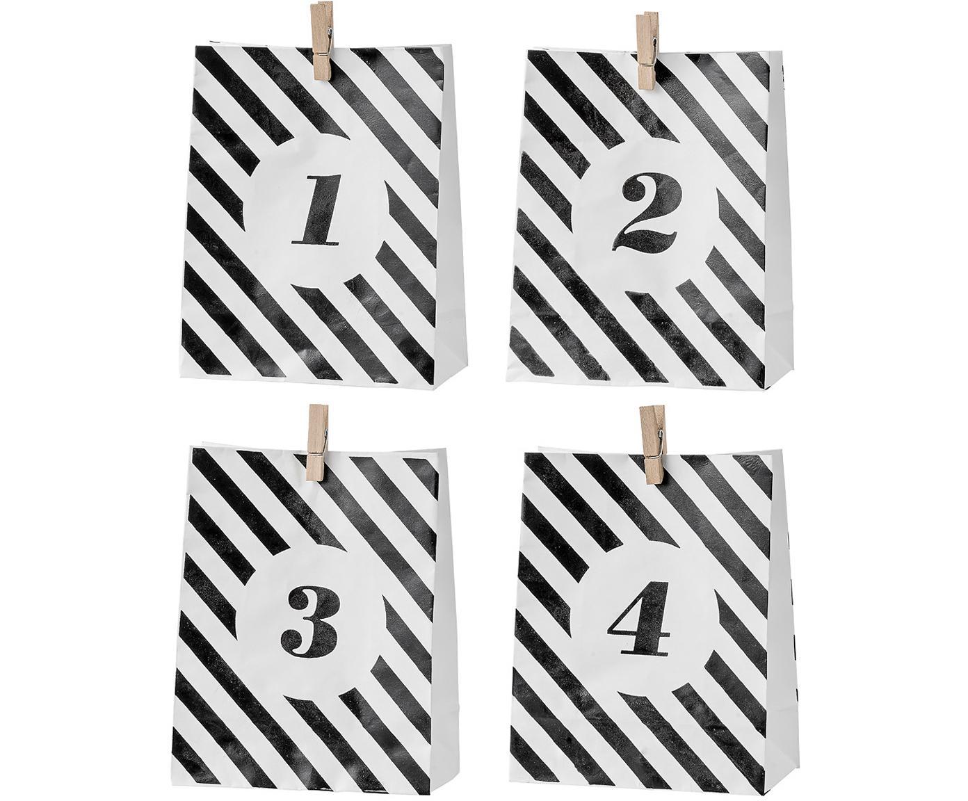 Papiertüten-Set Advent, 4-tlg., Papier, Schwarz, Weiß, 15 x 18 cm