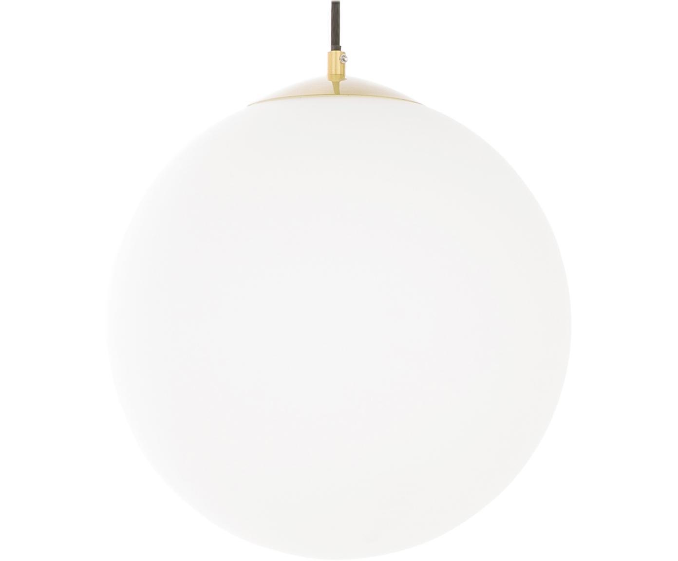 Lampada a sospensione a sfera in vetro Beth, Paralume: vetro, Bianco, ottone, Ø 30 cm