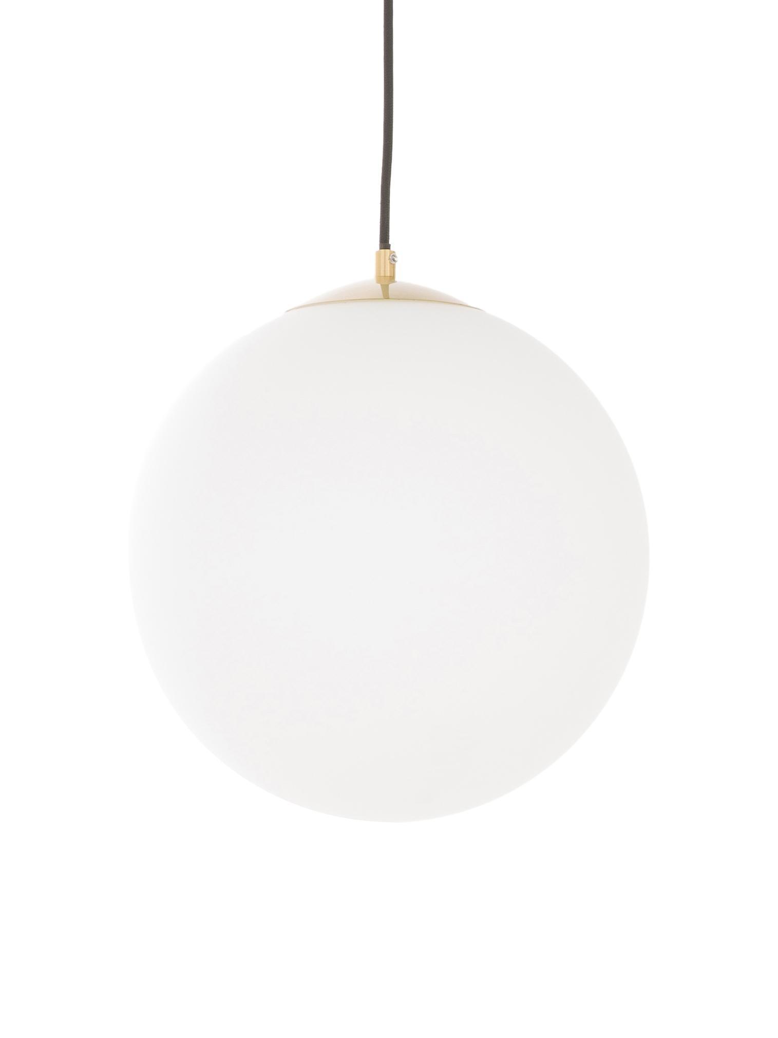 Lámpara de techo Beth, Pantalla: vidrio, Cable: tela, Blanco, latón, Ø 30 cm