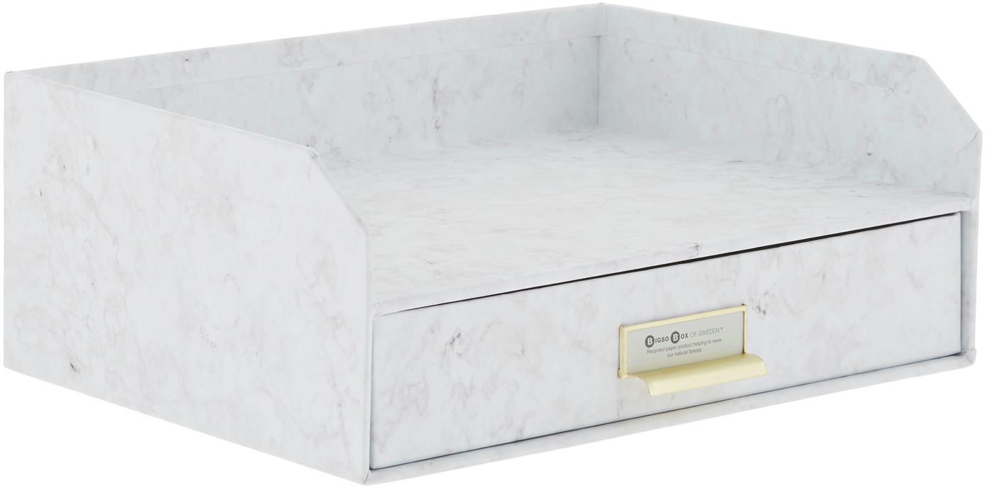 Organizador de escritorioWalter, Organizador: cartón laminado, Mármol blanco, An 33 x Al 13 cm