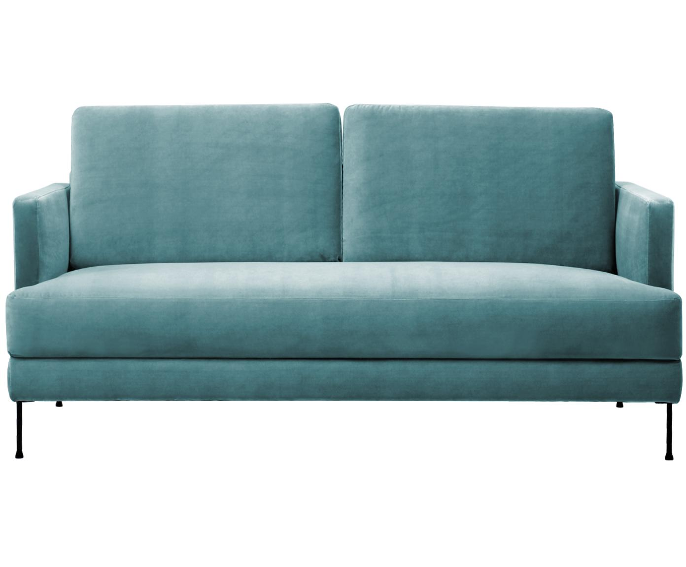 Fluwelen bank Fluente (2-zits), Bekleding: fluweel (hoogwaardig poly, Frame: massief grenenhout, Poten: gelakt metaal, Turquoise, B 168 x D 83 cm