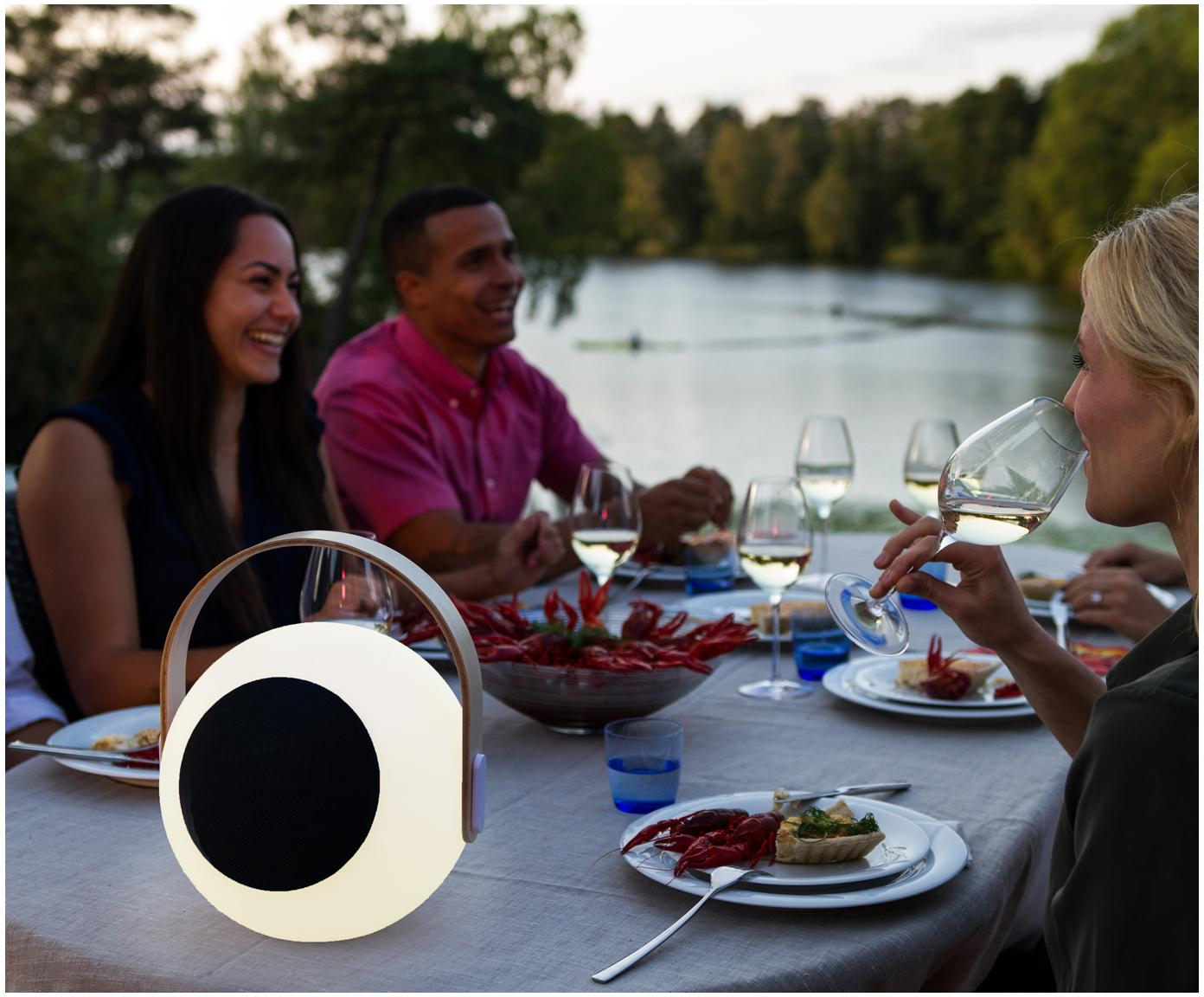 Mobile LED Aussenleuchte mit Lautsprecher Eye, Lampenschirm: Kunststoff (LDPD), Griff: Ulmenholz mit Birkenfurni, Weiss, Hellbraun, Ø 24 x H 28 cm