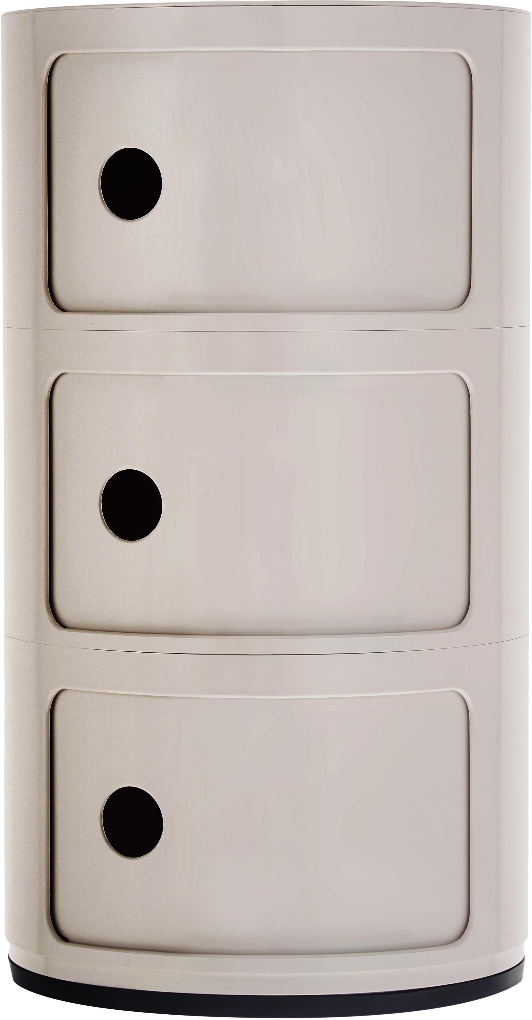 Design container Componibile, 100% biopolymeer van hernieuwbare grondstoffen, Mat crèmekleurig, Ø 32 x H 59 cm