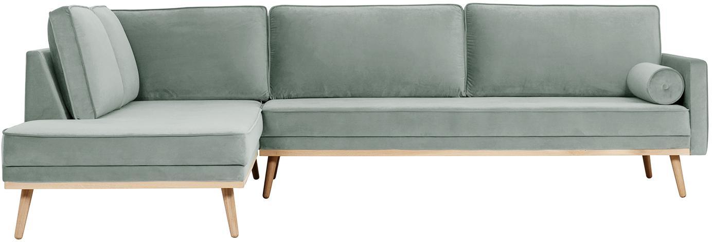 Samt-Ecksofa Saint (4-Sitzer), Bezug: Samt (Polyester) Der hoch, Gestell: Massives Eichenholz, Span, Webstoff Salbeifarben, B 294 x T 220 cm