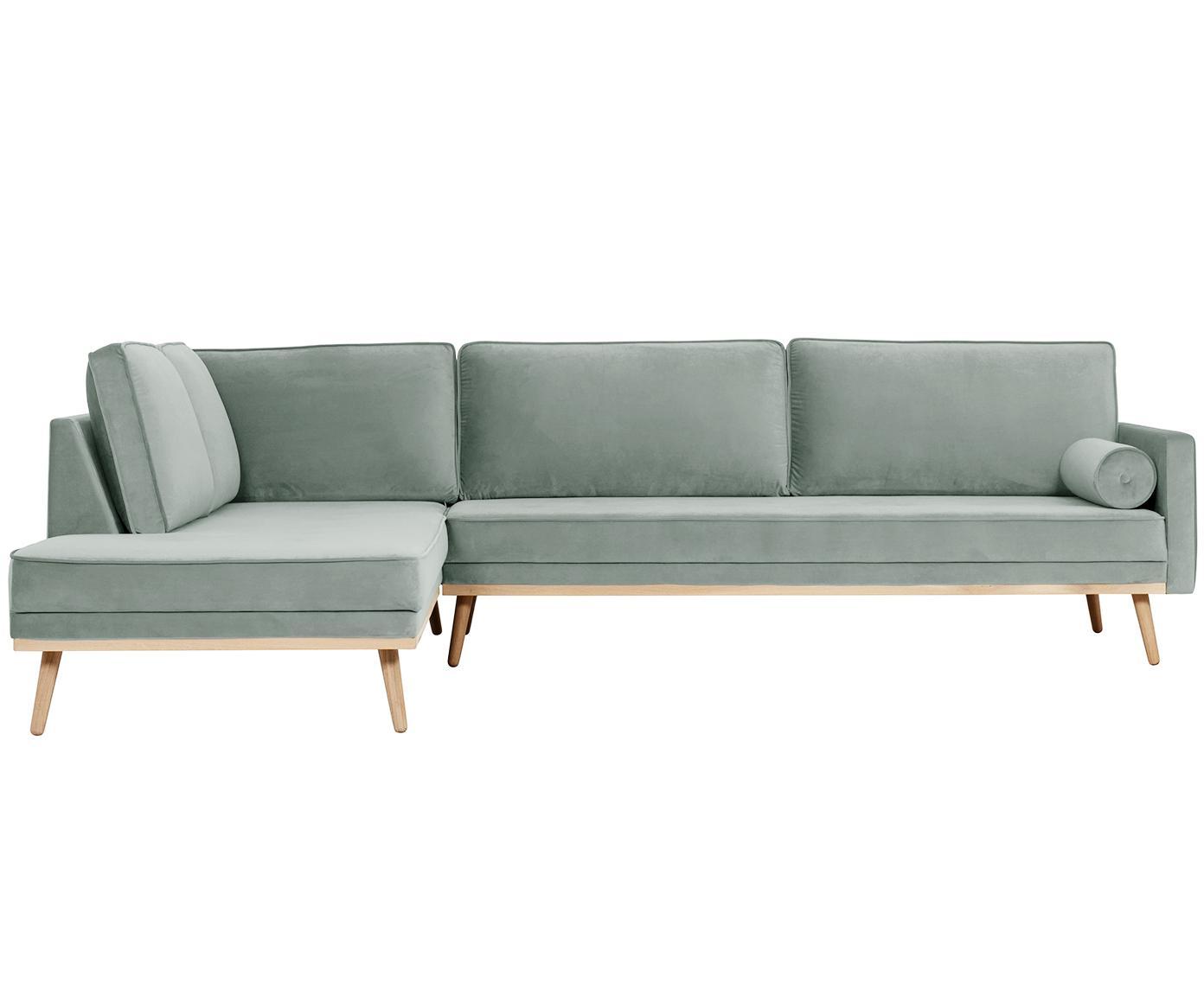 Sofa narożna z aksamitu Saint (4-osobowa), Tapicerka: aksamit (poliester) 3500, Stelaż: masywne drewno sosnowe, p, Szałwiowy zielony, S 294 x G 220 cm