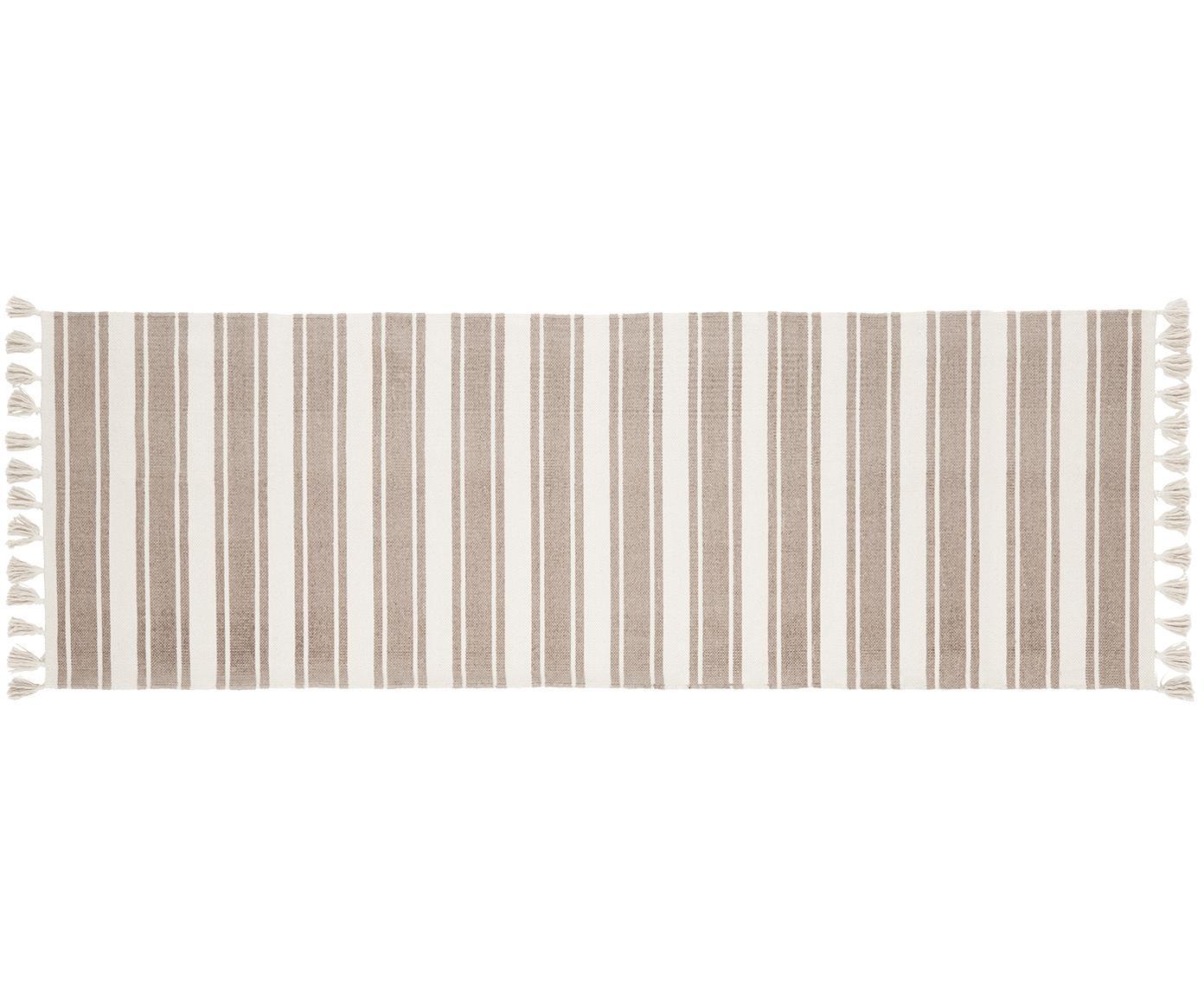 Alfombra de algodón artesanal a rayas Vigga, Gris pardo, beige, An 80 x L 250 cm