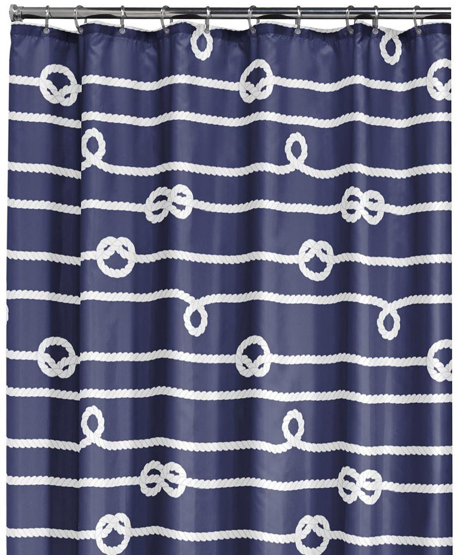 Douchegordijn Delaney, Oogjes: metaal, Blauw, wit, 180 x 200 cm