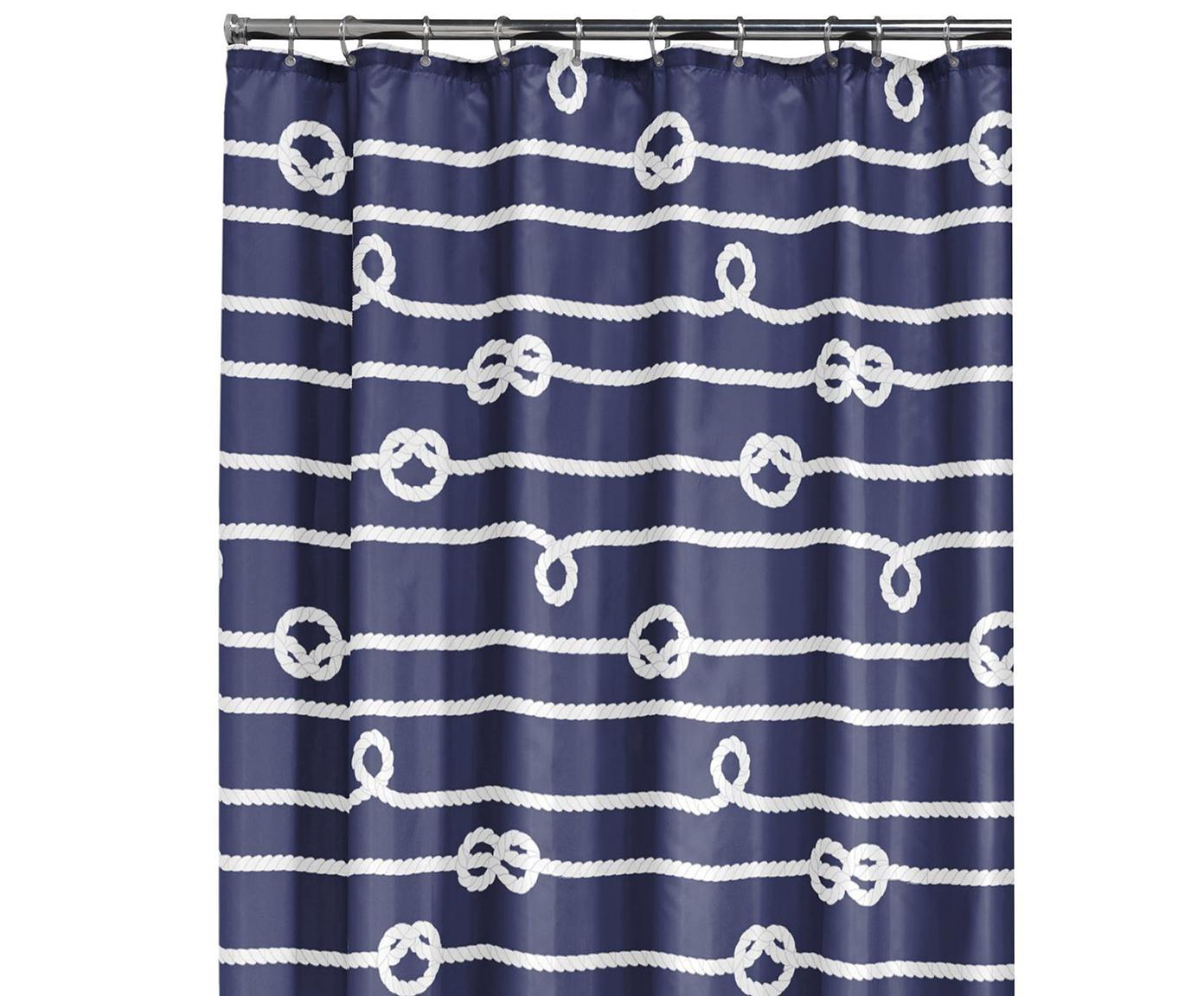 Tenda da doccia Delaney, Occhielli: metallo, Blu, bianco, Larg. 180 x Lung. 200 cm