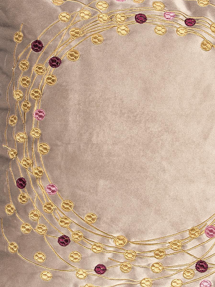 Funda de cojín de terciopelo Circle, Terciopelo de poliéster, Color arena, dorado, An 45 x L 45 cm