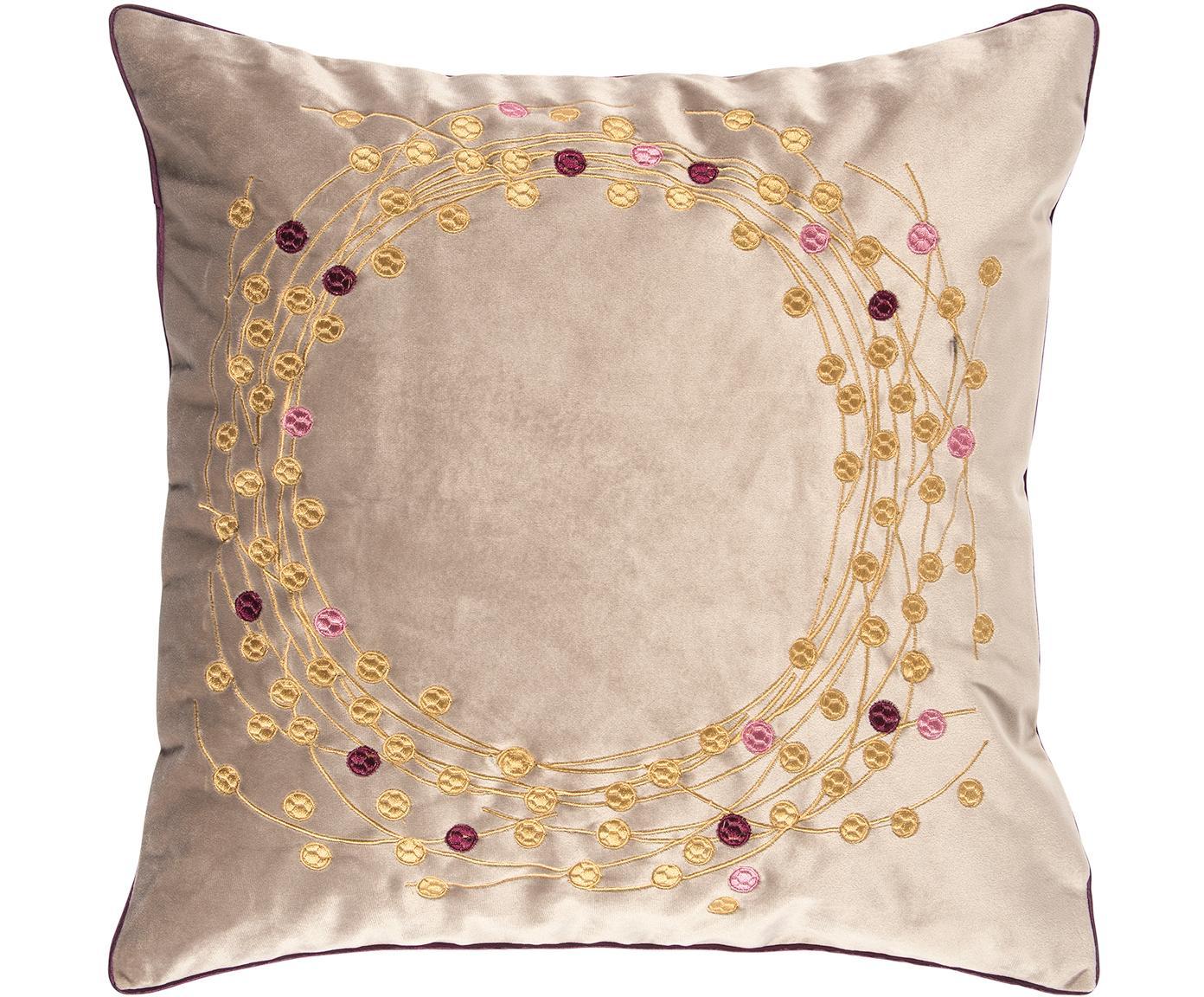 Fluwelen kussenhoes Circle, Polyester fluweel, Zandkleurig, goudkleurig, 45 x 45 cm