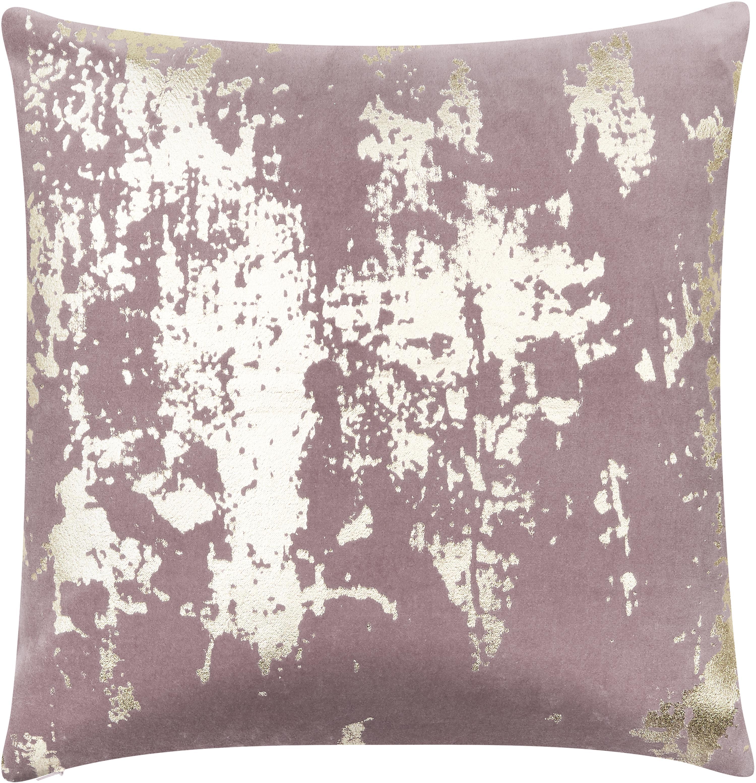 Kissenhülle Shiny, 100% Baumwollsamt, Mauve, Goldfarben, 40 x 40 cm