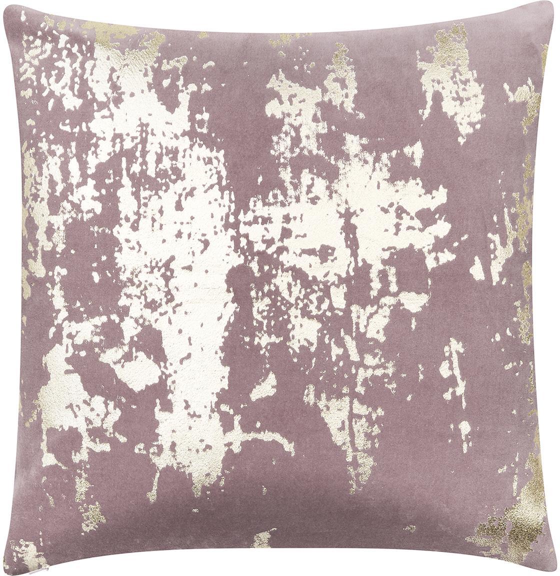 Federa arredo Shiny, Velluto di cotone, Malva, dorato, Larg. 40 x Lung. 40 cm