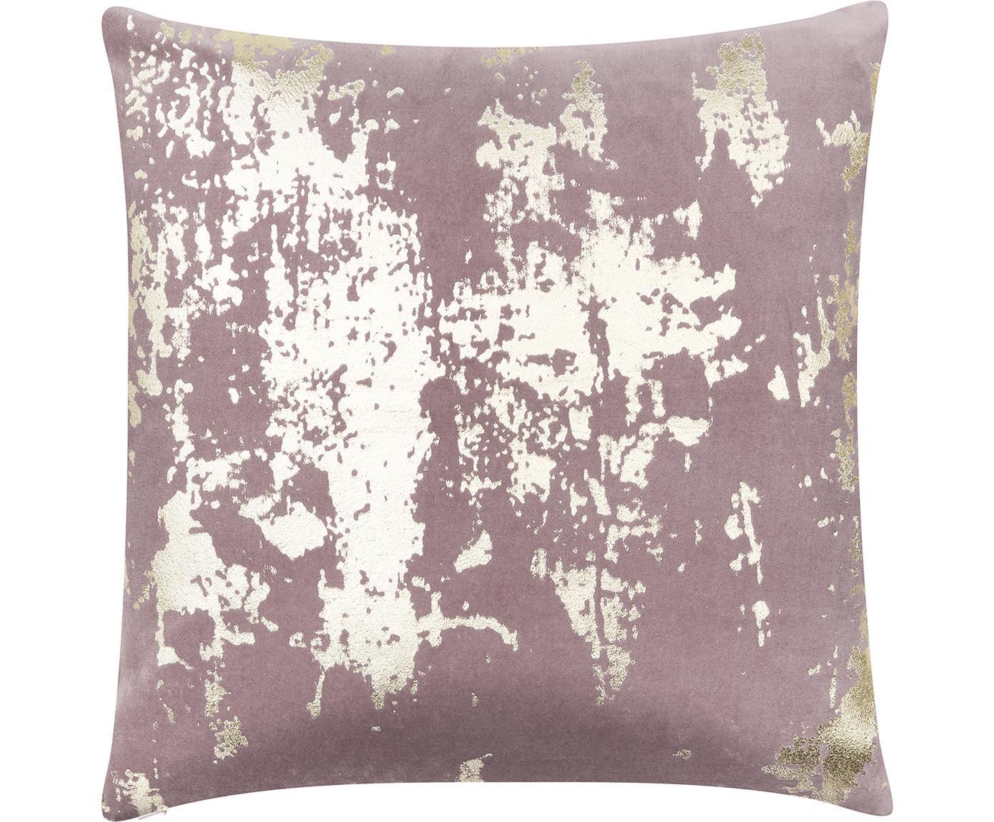Poszewka na poduszkę Shiny, Aksamit bawełniany, Mauve, odcienie złotego, S 40 x D 40 cm