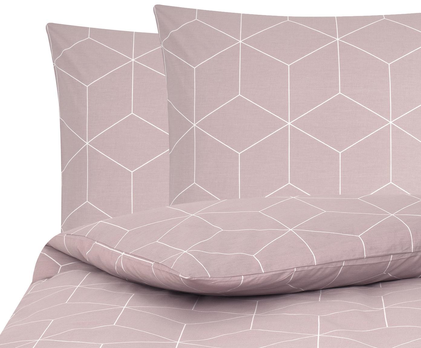 Baumwoll-Bettwäsche Lynn mit grafischem Muster, Webart: Renforcé Fadendichte 144 , Altrosa, Cremeweiß, 240 x 220 cm + 2 Kissen 80 x 80 cm