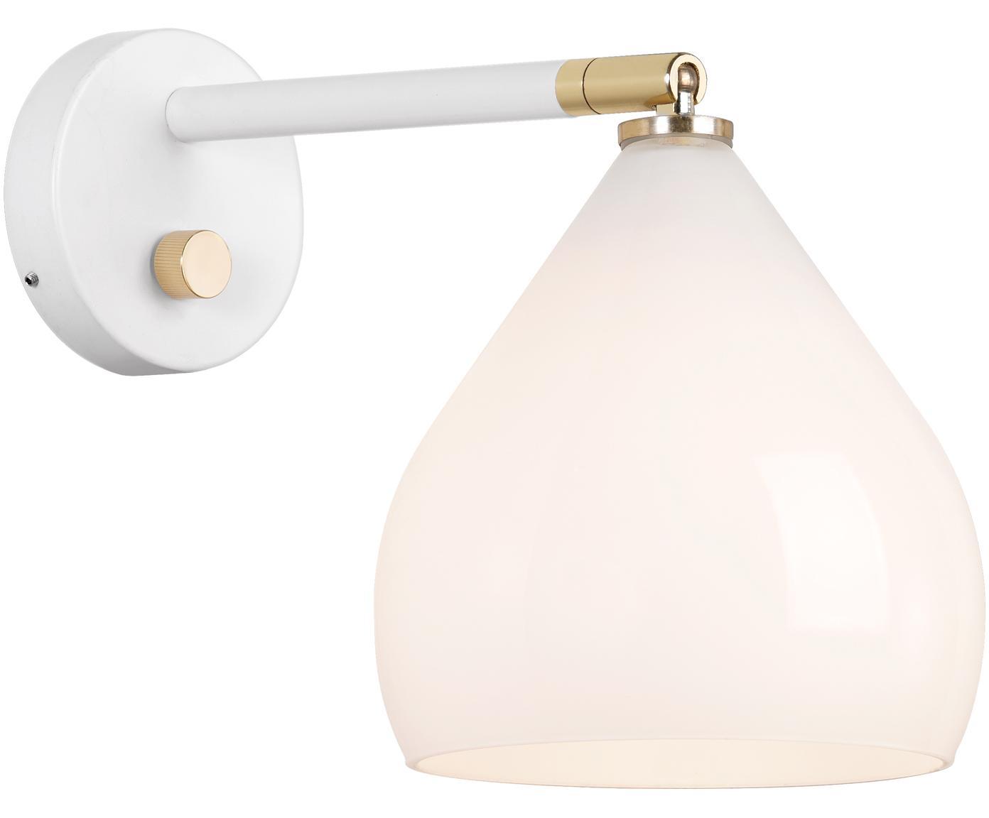 Wandlamp Sence met stekker, Lampenkap: opaalglas, Wit, messingkleurig, 17 x 21 cm