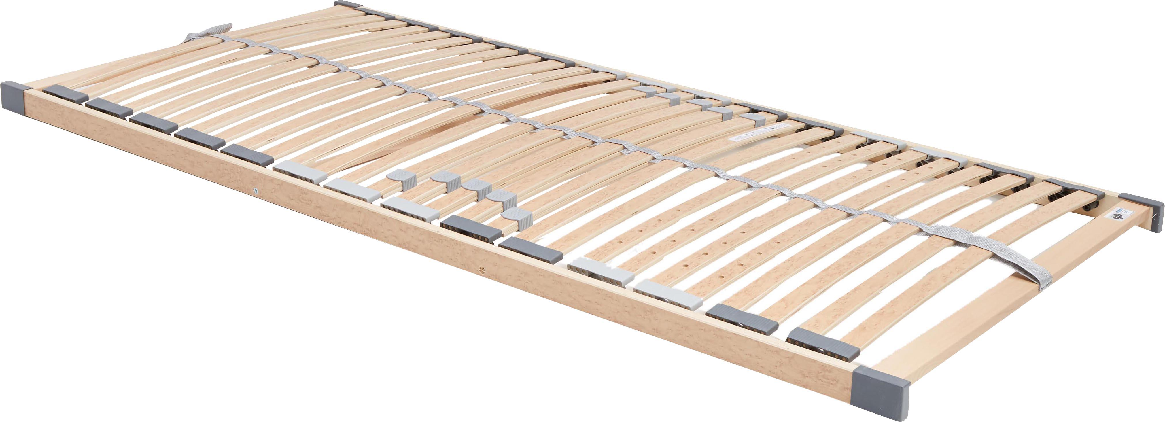 Lattenrost Comfort Plus, Rahmen: Schichtholz, Metall, Leisten: Federholzleisten mit Wurz, Mittelgurt: Kunstfaser, Kappen: Kunststoff, Hellbraun, 90 x 200 cm