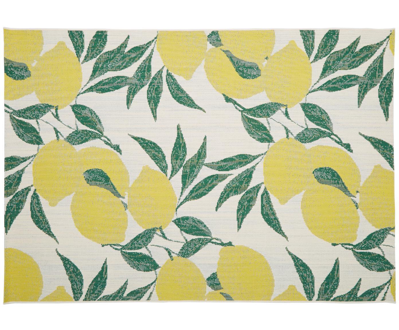 Tappeto da interno-esterno Limonia, Retro: poliestere, Bianco crema, giallo, verde, Larg. 160 x Lung. 230 cm (taglia M)