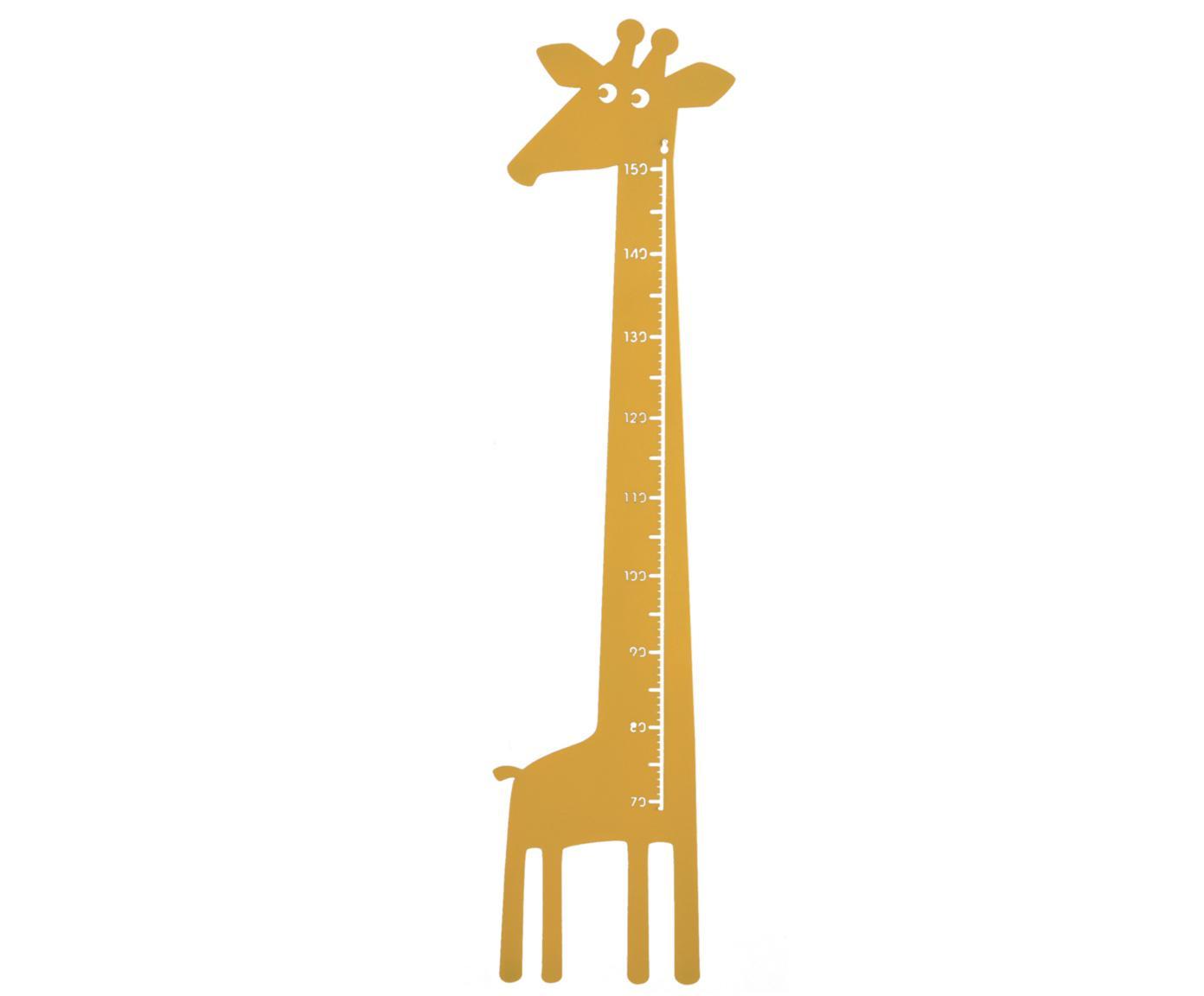 Groeimeter Giraffe, Gepoedercoat metaal, Geel, 28 x 151 cm