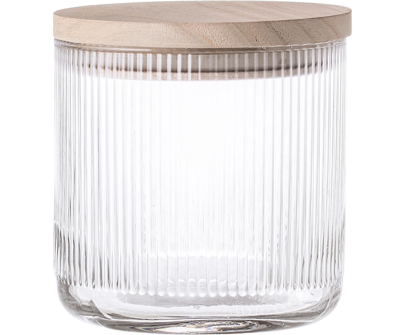 Glazen opbergpot Gianna met groefstructuur, Deksel: hout, siliconen, Transparant, bruin, Ø 12 x H 12 cm