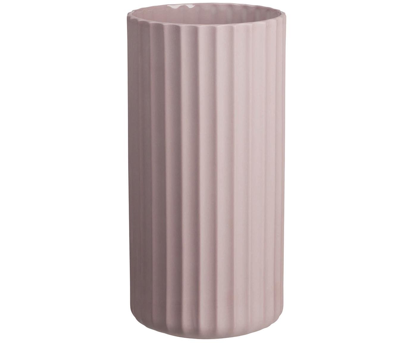 Handgefertigte Vase Yoko aus Porzellan, Porzellan, Rosa, Ø 12 x H 24 cm