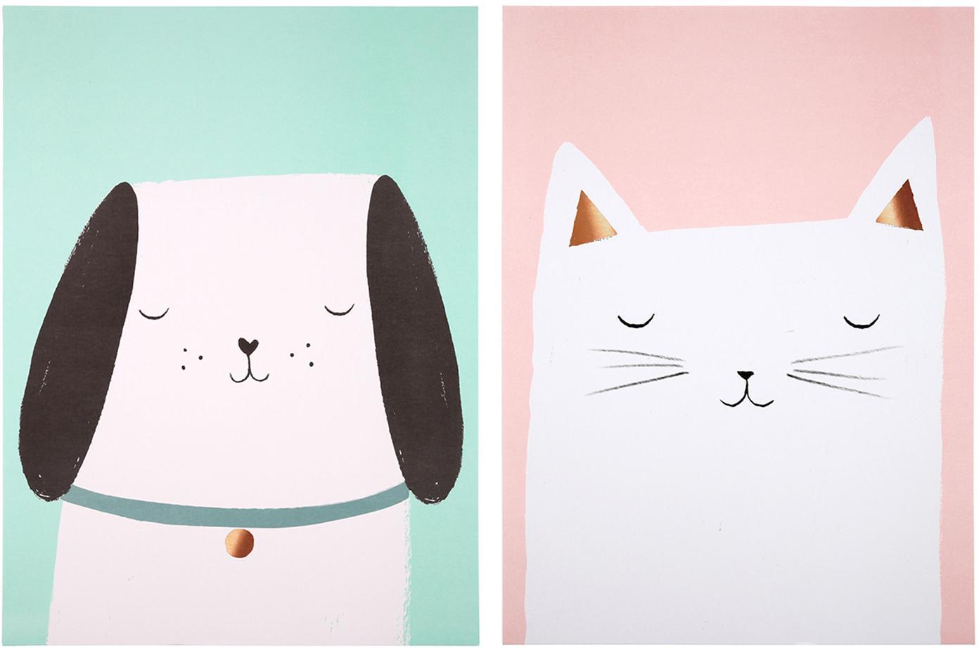 Postersset Cat & Dog, 2-delig, Digitale print op papier, 200 g/m², Roze, groen, wit, zwart, 31 x 41 cm