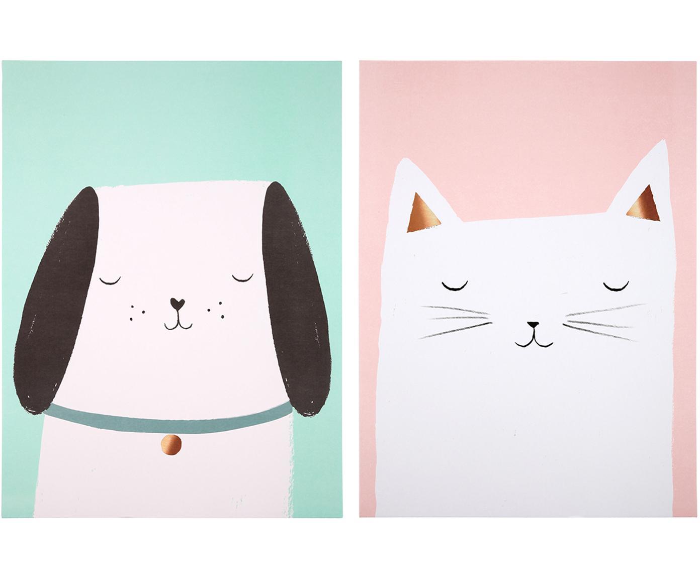 Set poster Cat & Dog, 2 pz., Stampa digitale su carta, 200 g/m², Rosa, verde, bianco, nero, Larg. 31 x Alt. 41 cm