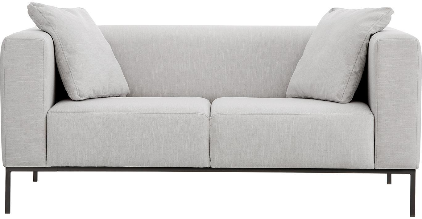 Sofa Carrie (2-Sitzer), Bezug: Polyester 50.000 Scheuert, Gestell: Spanholz, Hartfaserplatte, Webstoff Grau, B 176 x T 86 cm