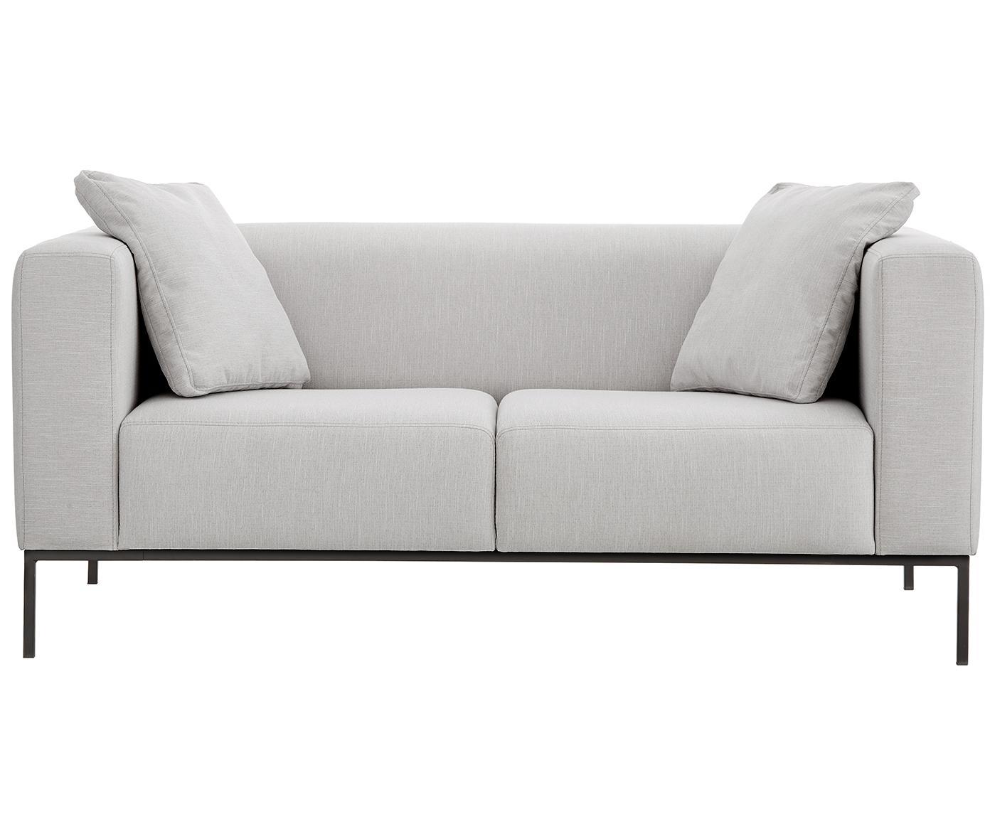 Bank Carrie (2-zits), Bekleding: polyester, Frame: spaanplaat, hardboard, mu, Poten: gelakt metaal, Webstoff Grau, B 176 x D 86 cm