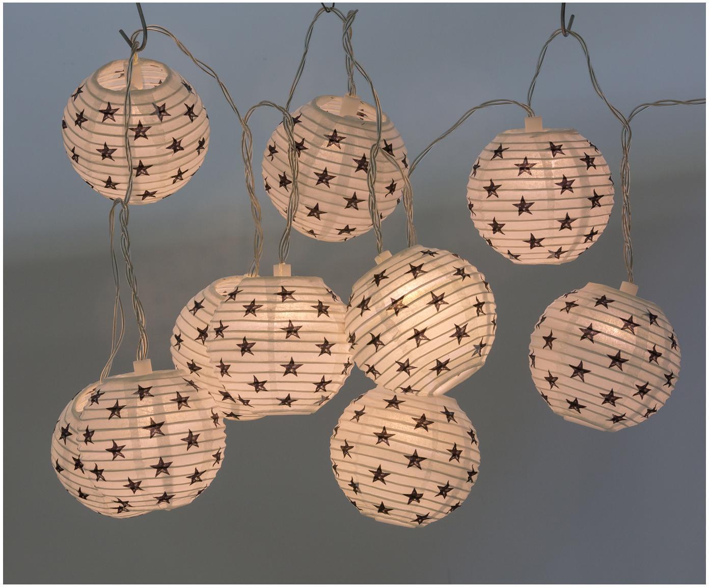 LED-Lichterkette Hyannisport, Lampions: Papier, Weiß, Dunkelblau, L 210 cm