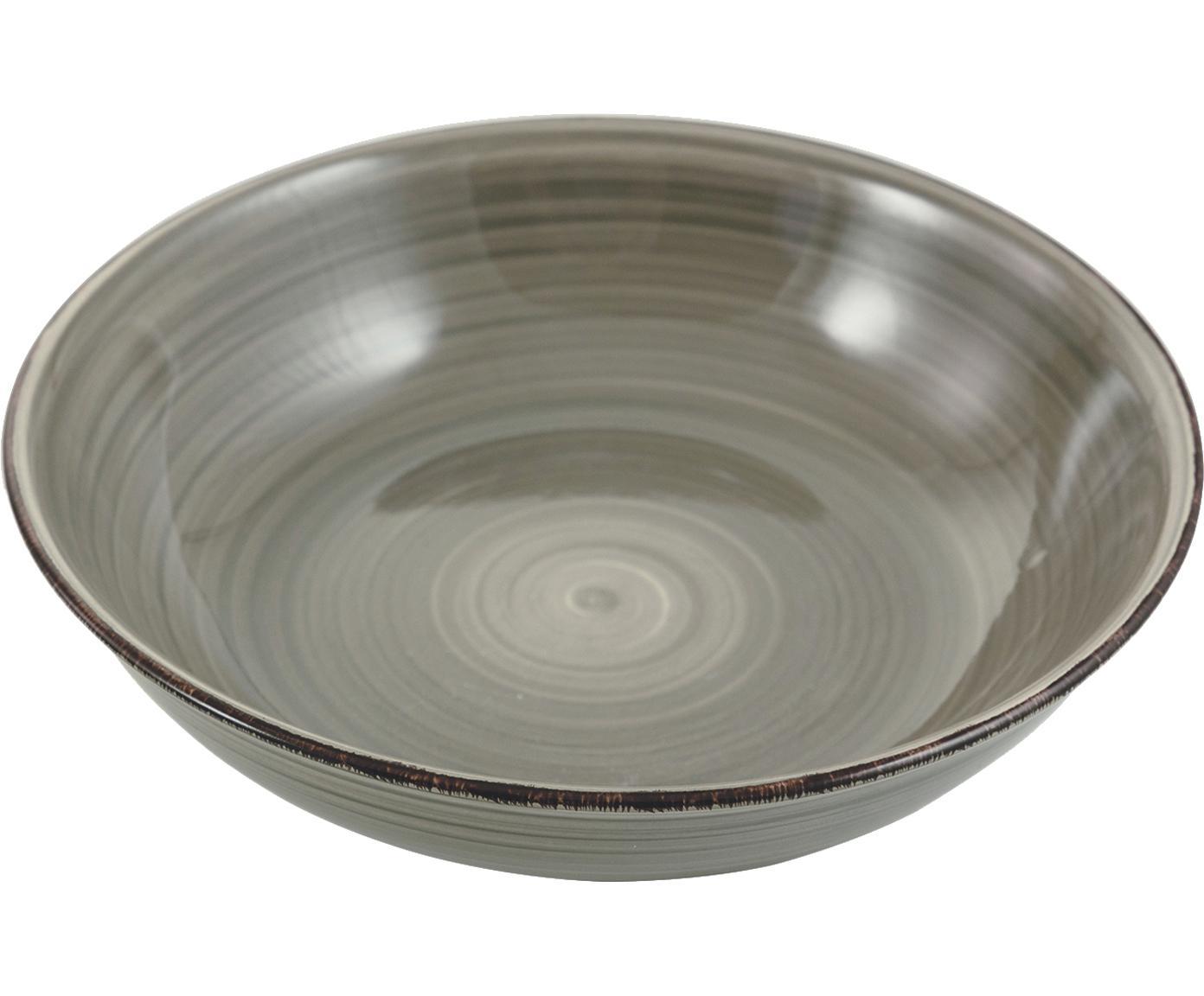 Handbemalte Schüssel Baita, Steingut, handbemalt, Grau, Ø 29 x H 7 cm