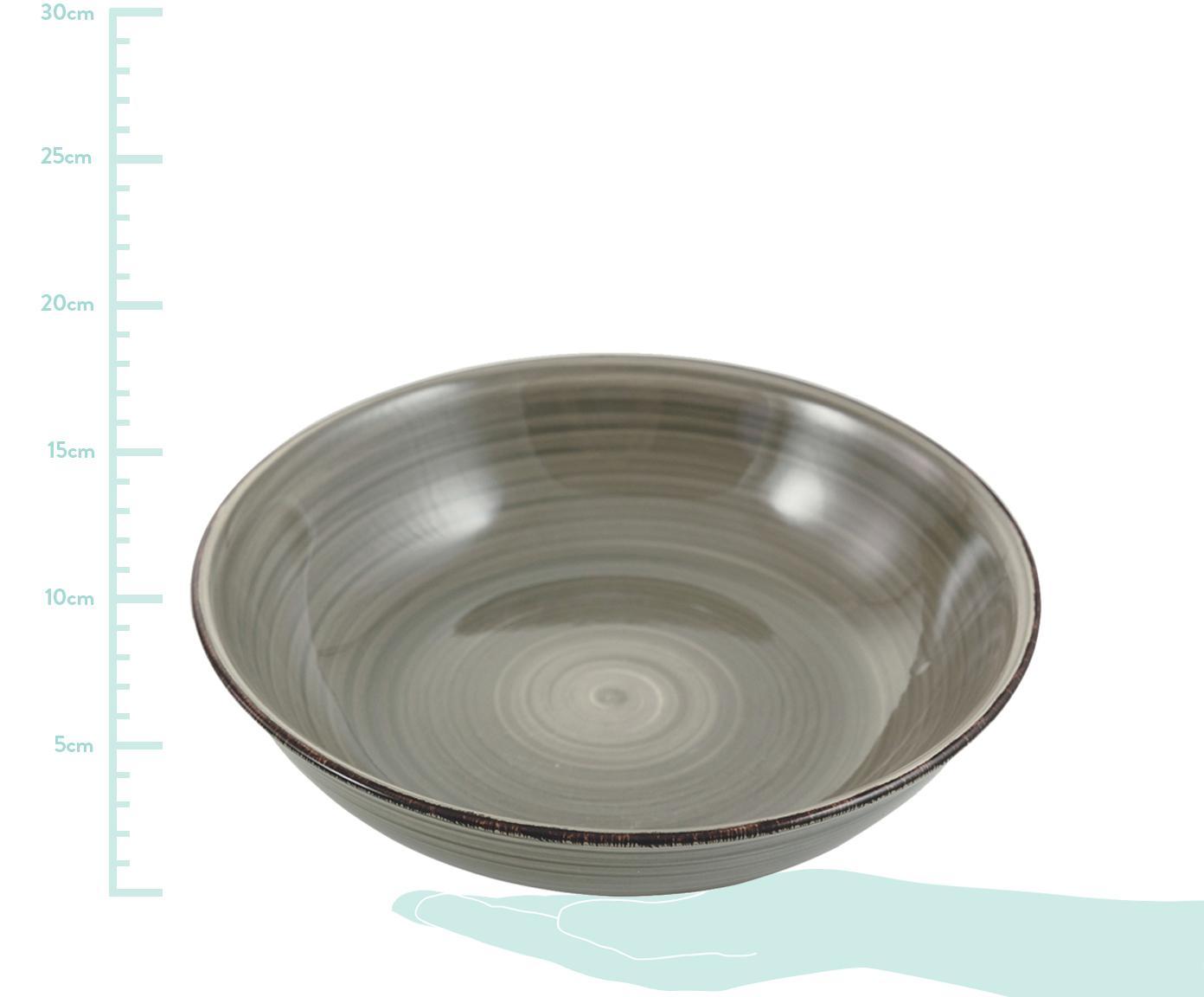Handbemalte Schüssel Baita in Grau, Steingut (Dolomitstein), handbemalt, Grau, Ø 29 x H 7 cm
