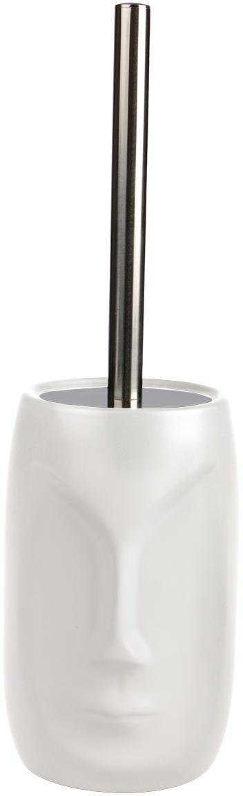 Toiletborstel Urban, Houder: keramiek, Wit, metaalkleurig, Ø 11 cm