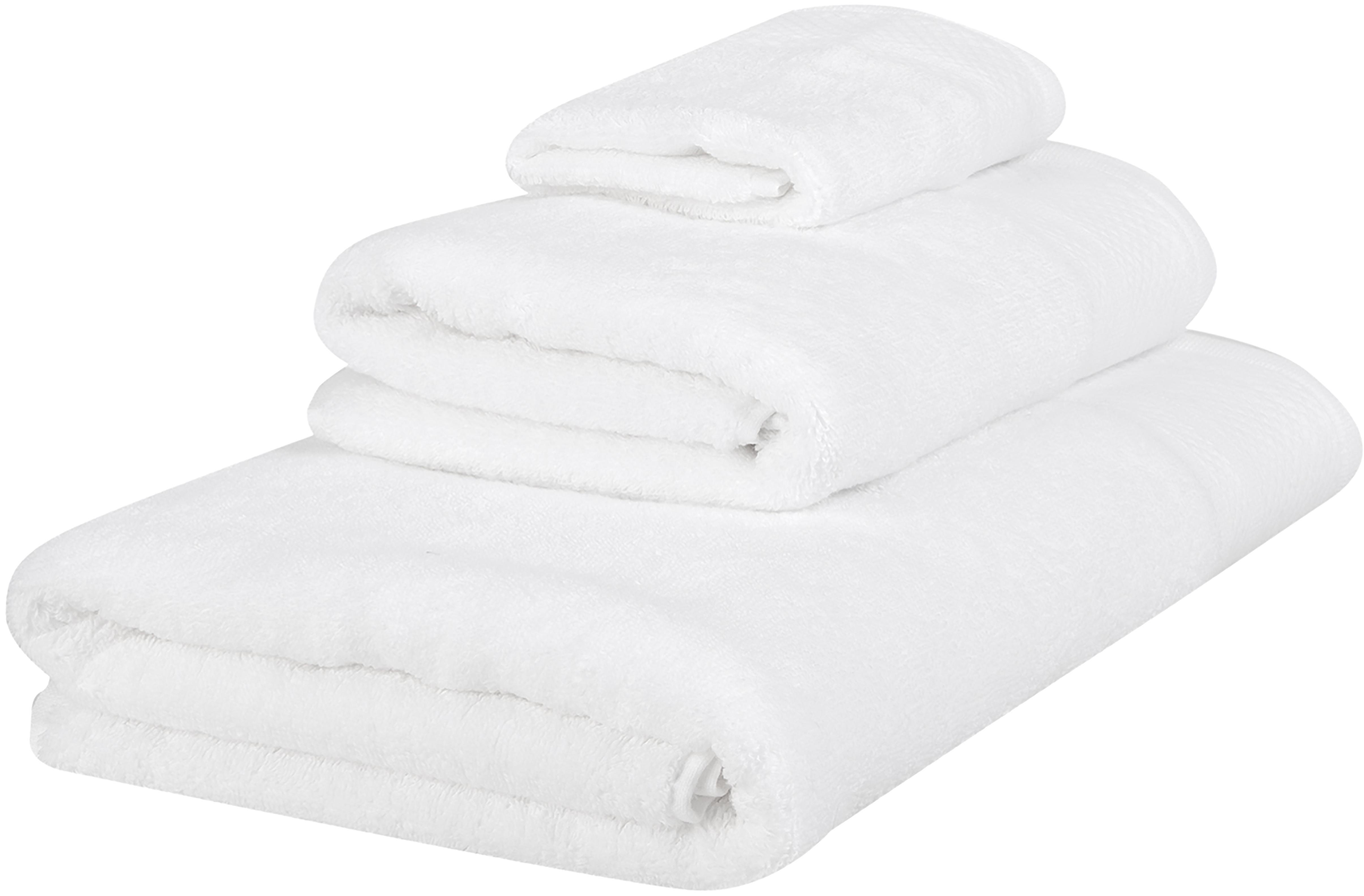 Komplet ręczników Premium, 3 elem., 100% bawełna, wysoka jakość 600 g/m², Biały, Różne rozmiary