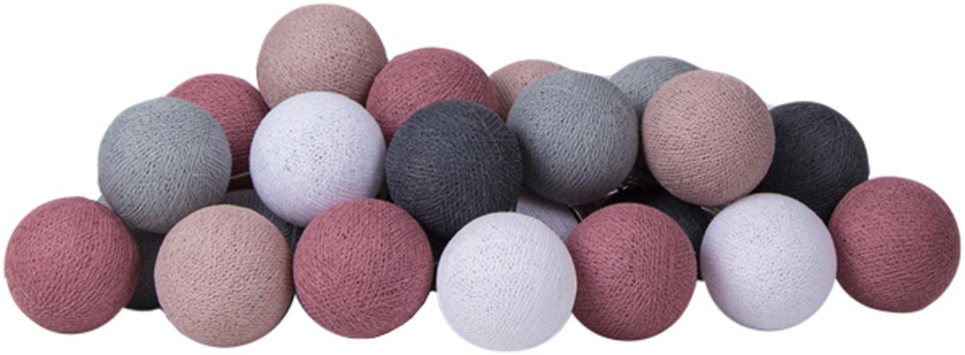 LED Lichterkette Colorain, Lampions: Polyester, Lilatöne, Grautöne, Weiss, L 264 cm