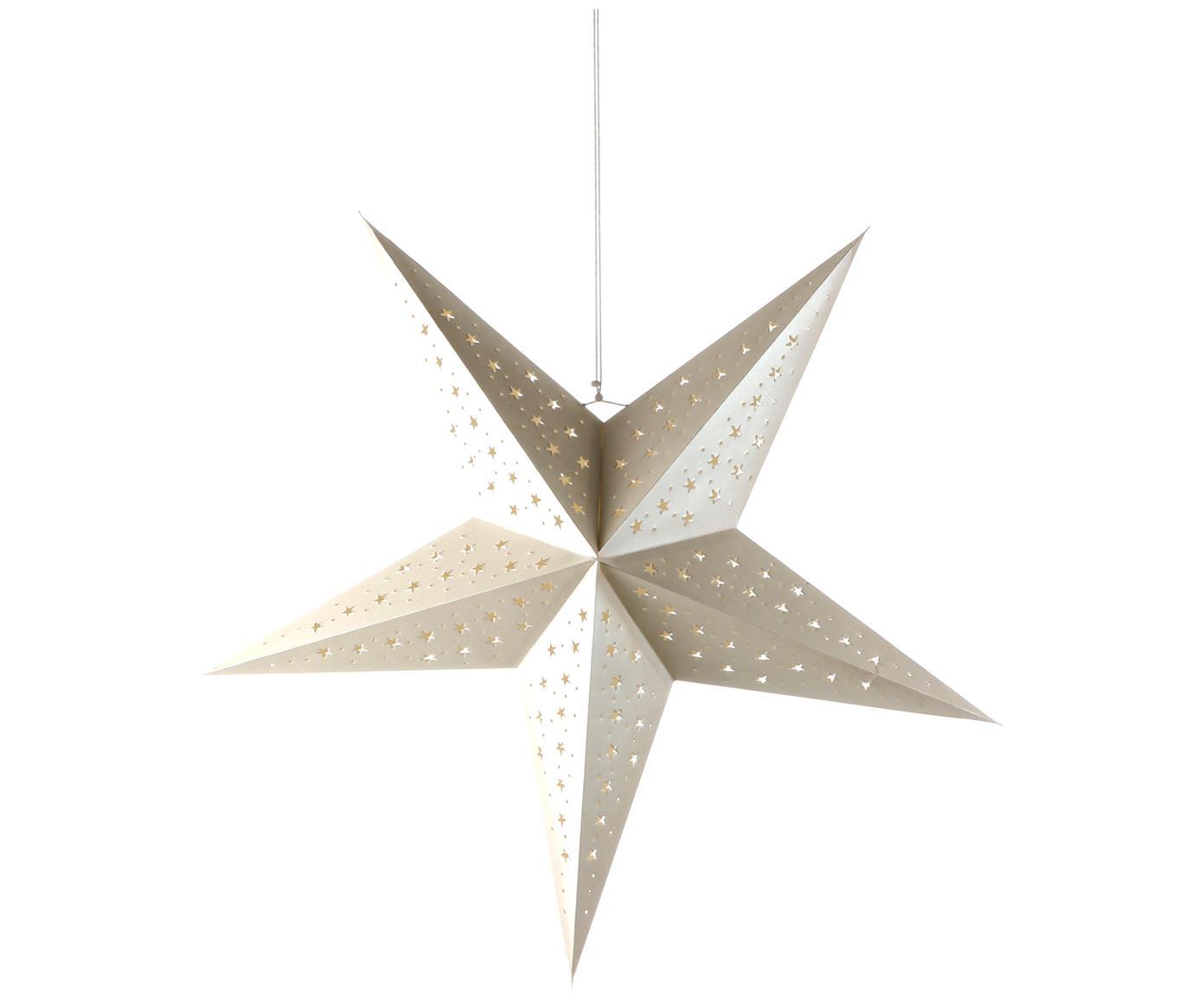 Weihnachtsstern Esther, Papier, Weiß mit Glitter, 75 x 75 cm