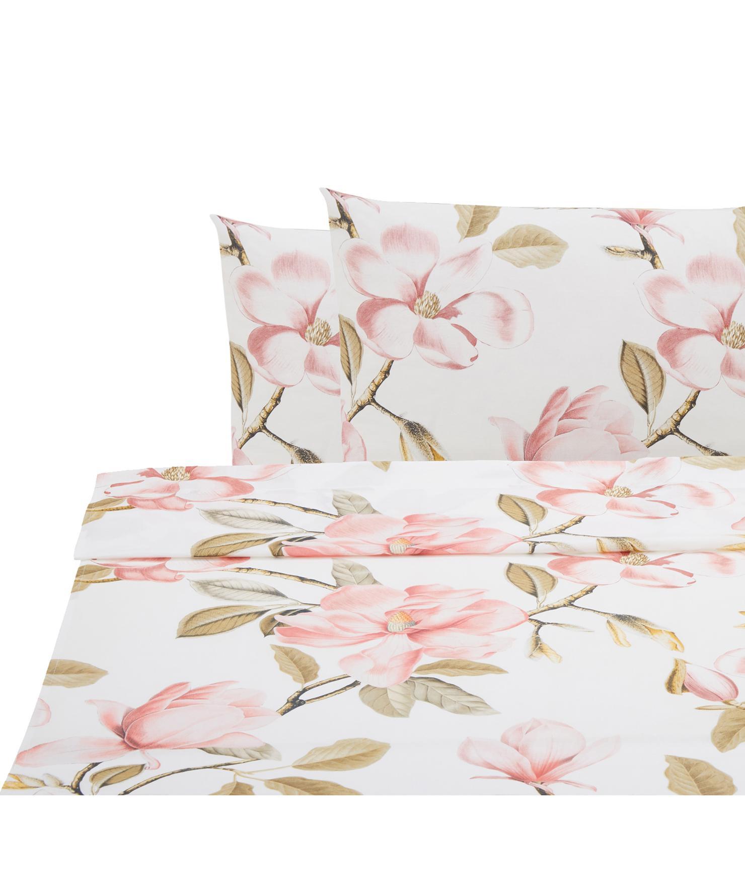 Set lenzuola in cotone ranforce Magnolia  3 pz, Tessuto: Renforcé, Bianco, rosa, verde, 240 x 270 cm