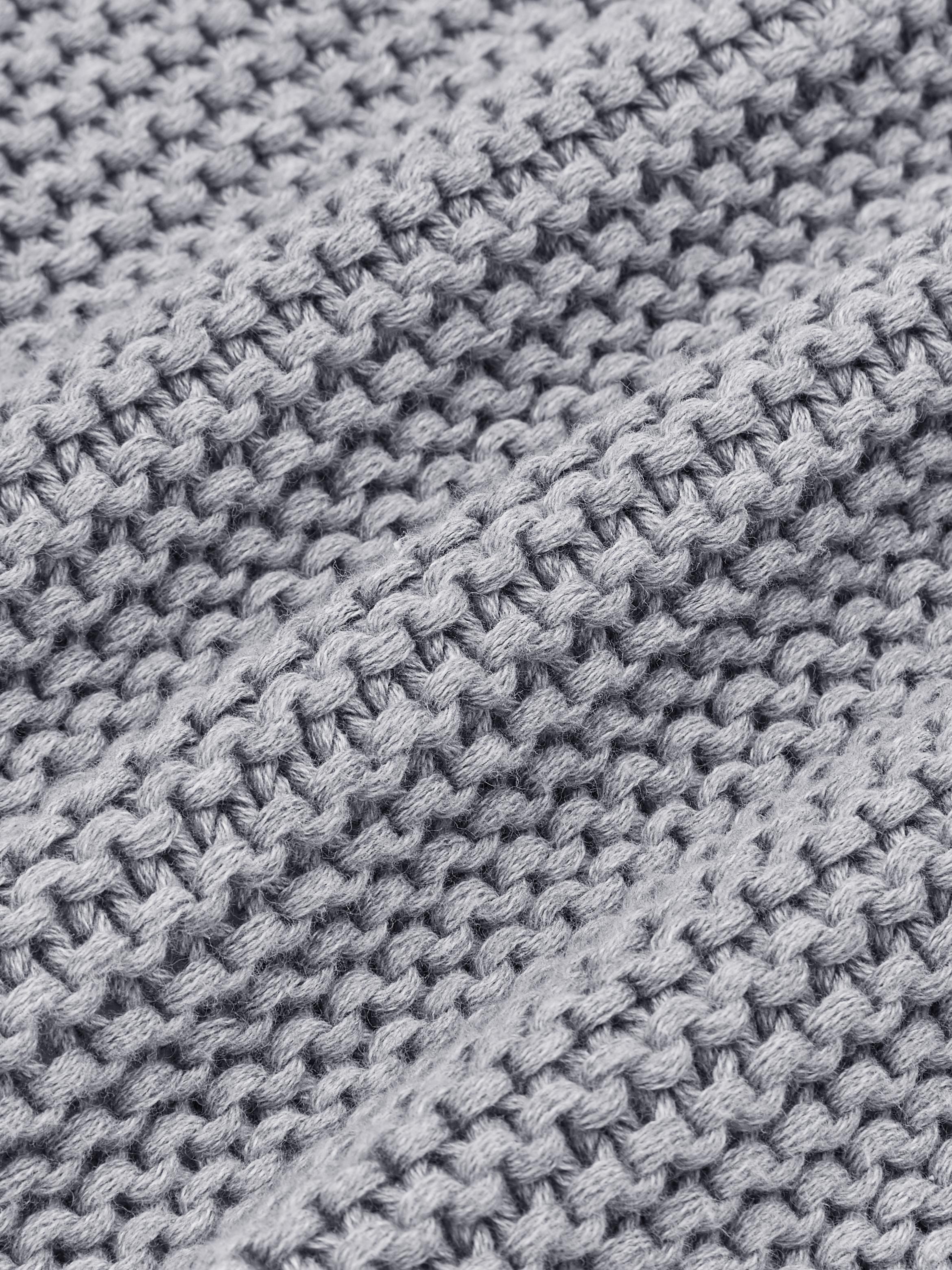 Strick-Plaid Adalyn in Hellgrau, 100% Baumwolle, Hellgrau, 150 x 200 cm