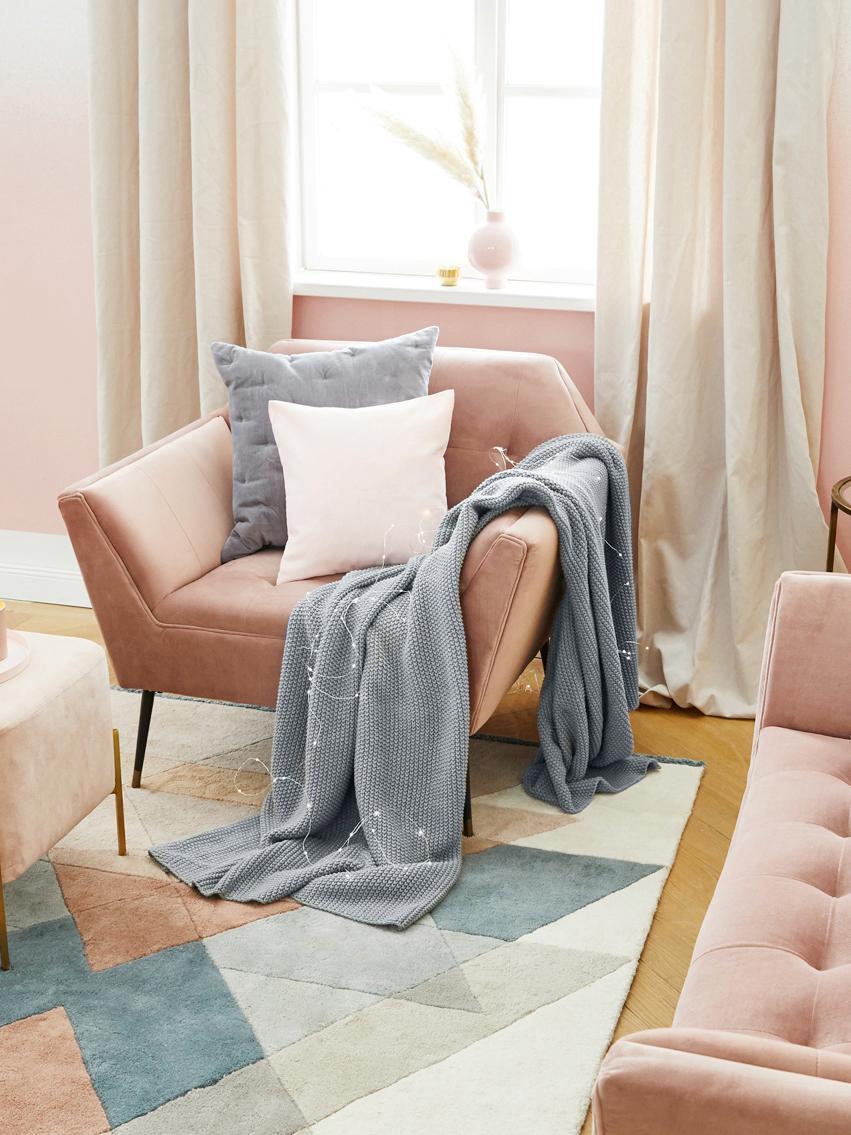 Manta de punto Adalyn, 100%algodón, Gris claro, An 150 x L 200 cm