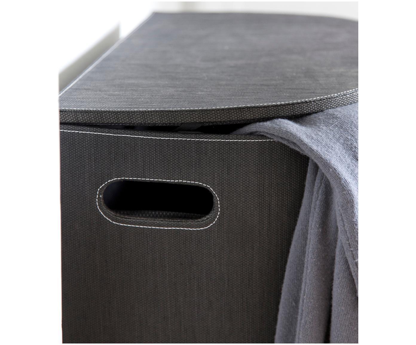 Kosz na pranie Sascha, Włókna z recyklingu, Czarny, 48 x 57 cm