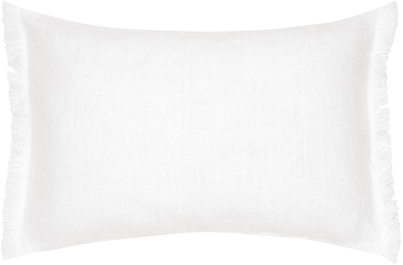 Funda de cojín de lino con flecos Luana, Lino, Blanco crema, An 30 x L 50 cm
