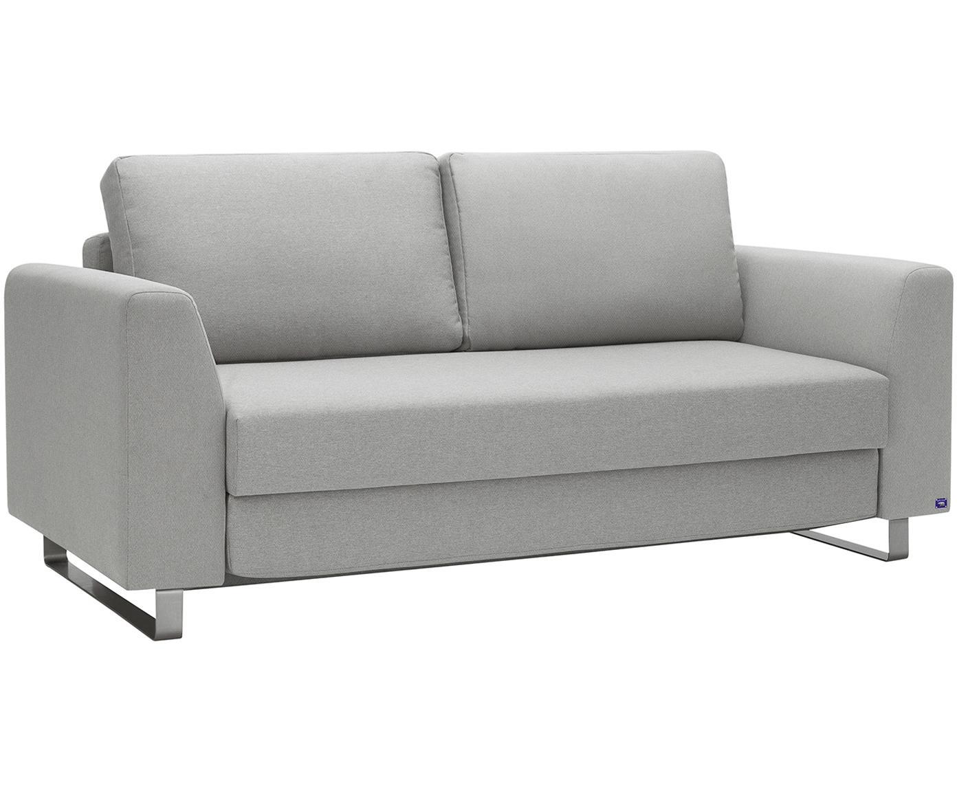 Schlafsofa Bruno (3-Sitzer), Bezug: Pflegeleichtes robustes P, Rahmen: Massivholz, Füße: Gebürstetes Metall oder B, Webstoff Hellgrau, B 200 x T 84 cm