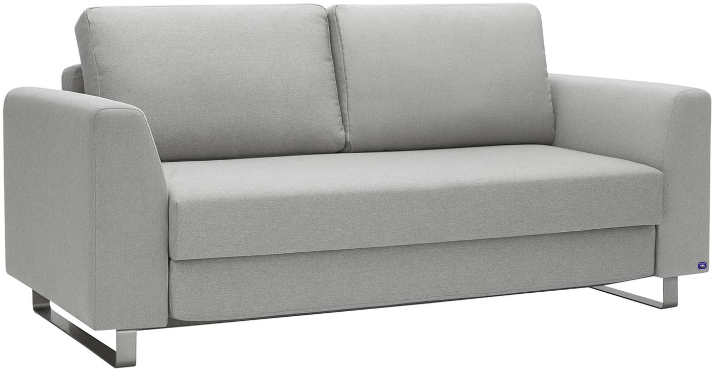 Schlafsofa Bruno (3-Sitzer), Bezug: Pflegeleichtes robustes P, Rahmen: Massivholz, Webstoff Hellgrau, B 200 x T 84 cm