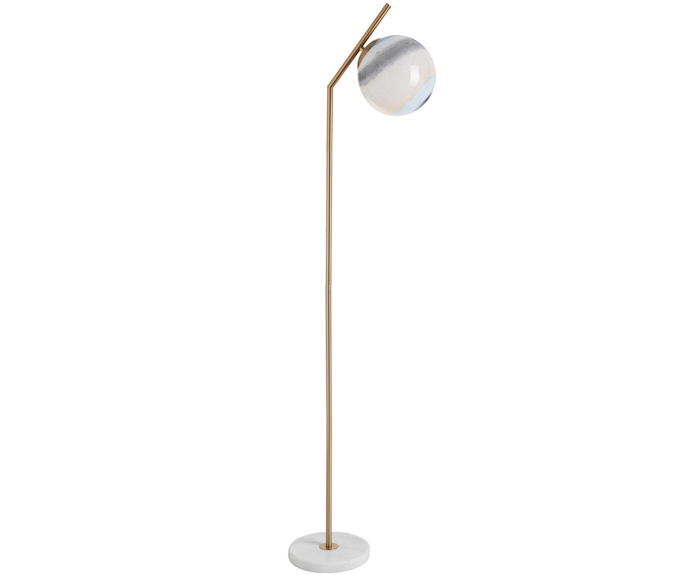 Lampa podłogowa Opal, Srebrny, transparentnyny, Odcienie mosiądzu, biały, odcienie pastelowe, S 25 x W 144 cm