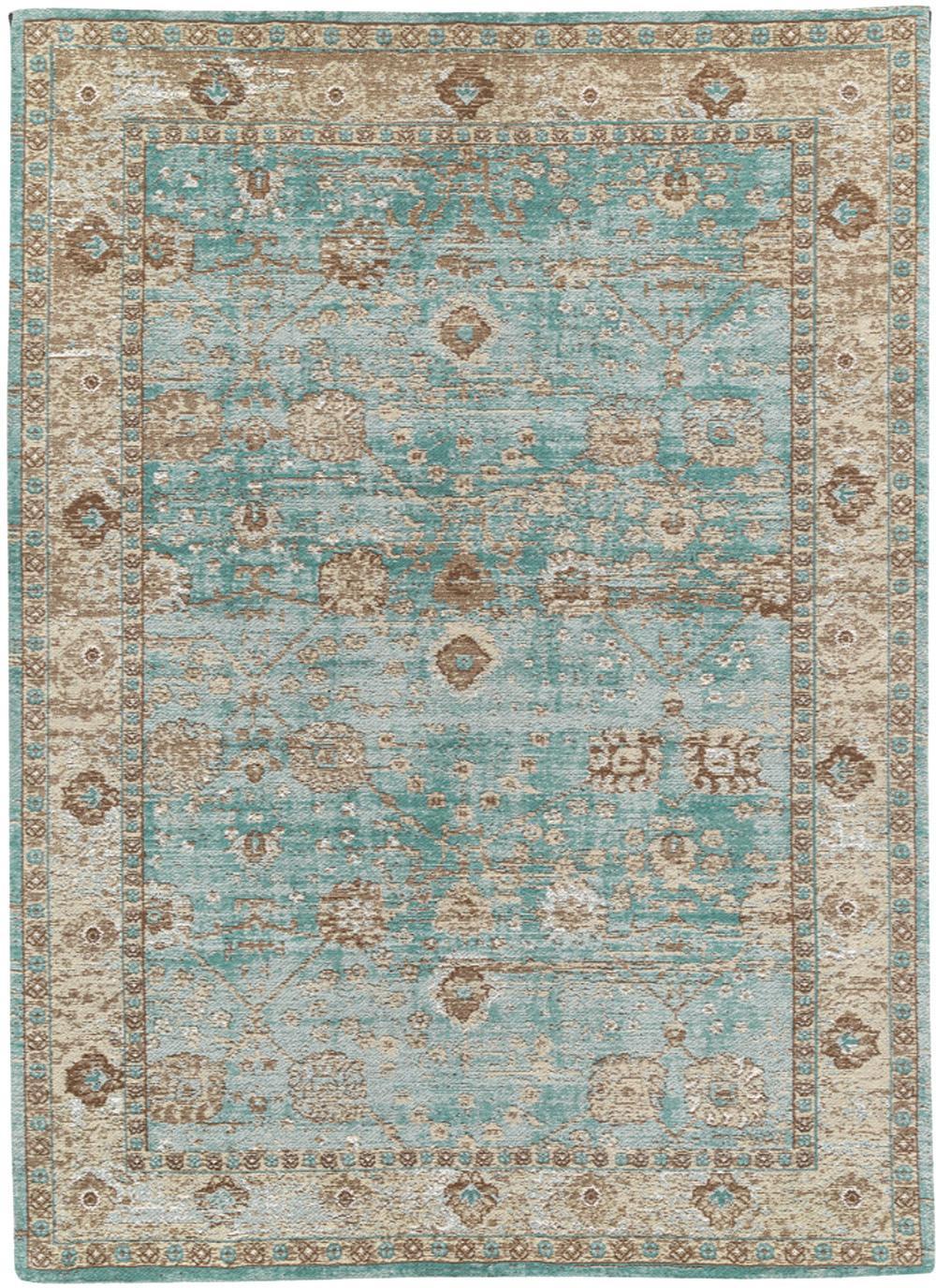 Handgeweven chenille vloerkleed Rimini, Bovenzijde: 95% katoen, 5% polyester, Onderzijde: 100% katoen, Turquoise, taupe, bruin, 120 x 180 cm