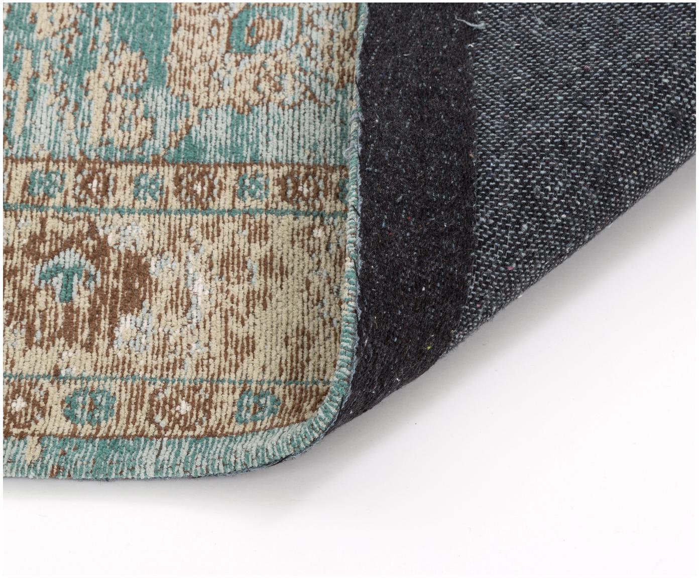Vintage Chenilleteppich Rimini in Türkis-Braun, handgewebt, Flor: 95% Baumwolle, 5% Polyest, Türkis, Taupe, Braun, B 160 x L 230 cm (Grösse M)