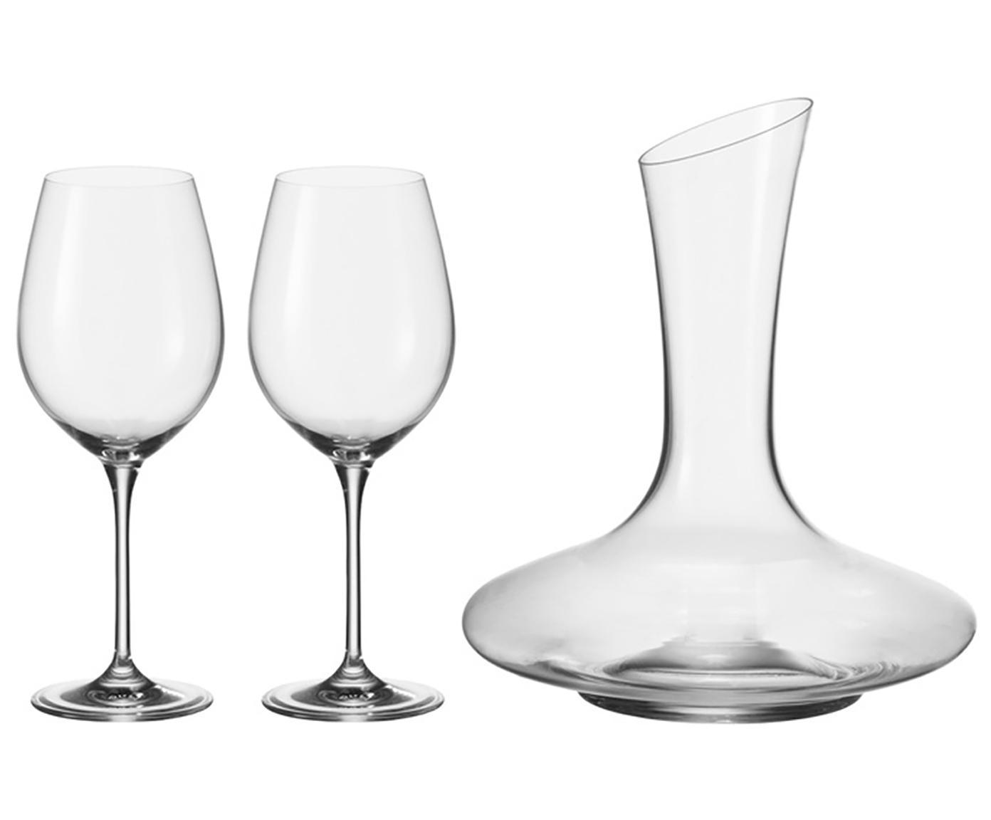 Rode wijnset Barcelona, 3-delig, Glas, Transparant, Verschillende formaten