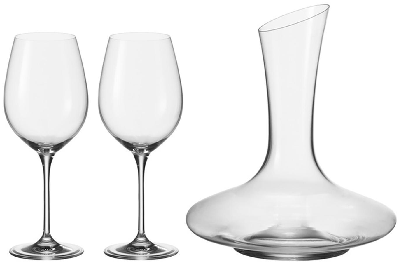 Set de vino tinto Barcelona, 3pzas., Vidrio, Transparente, Set de diferentes tamaños