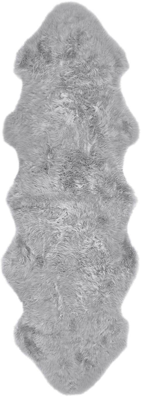 Vloerkleed van schapenvacht Oslo, glad, Bovenzijde: 100% schapenvacht, Onderzijde: 100% leer, chroomvrij gel, Lichtgrijs, 60 x 180 cm