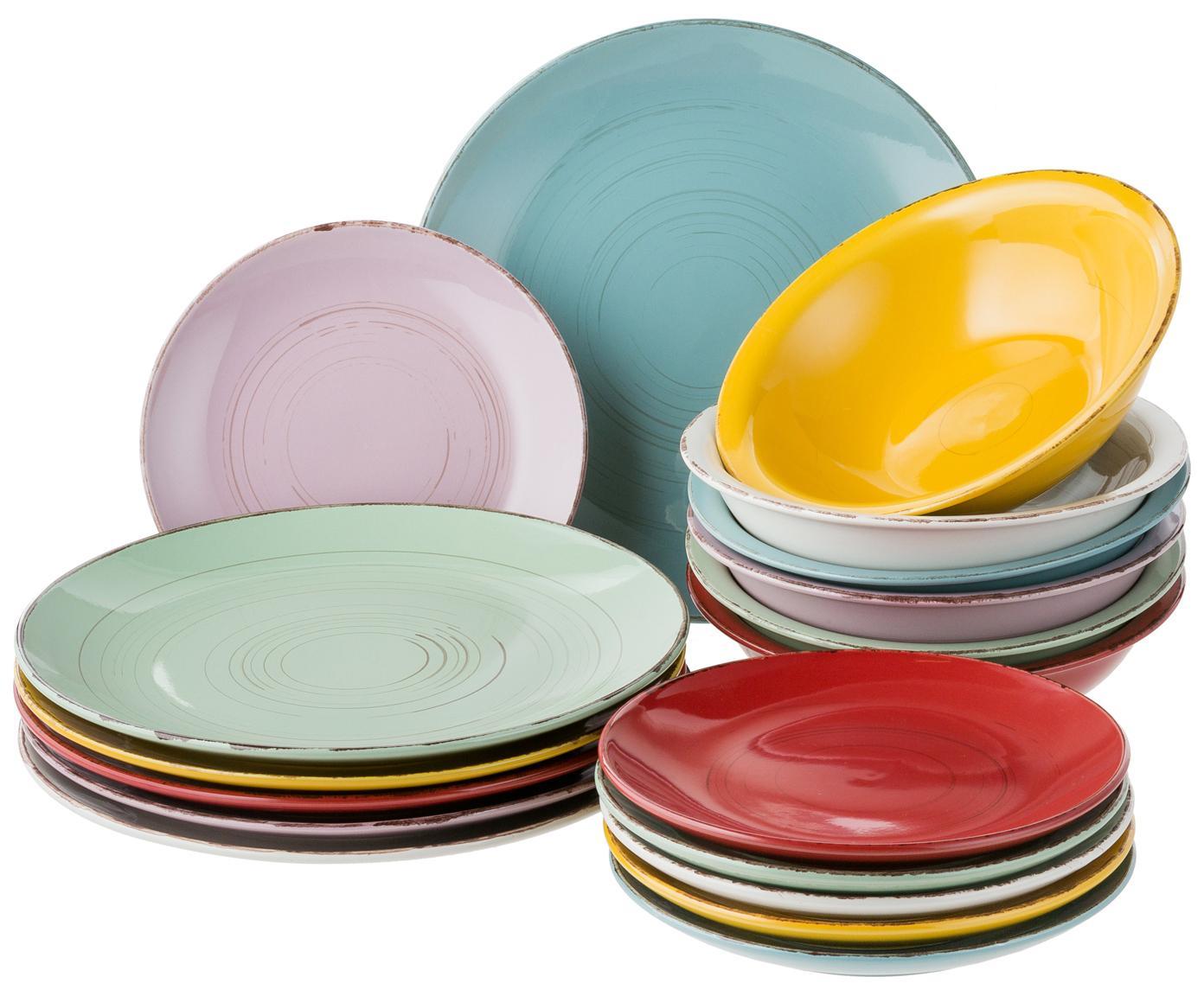 Teller-Set Cascina, 18-tlg., Steingut, handbemalt, Mehrfarbig, Verschiedene Grössen