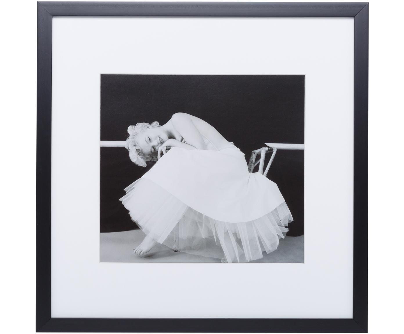Oprawiony druk cyfrowy Dancing Queen, Stelaż: tworzywo sztuczne, Ilustracja: czarny, biały Stelaż: czarny, S 40 x W 40 cm